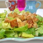 Crispy Golden Tofu Salad with Bean Sprout and Romaine Lettuce