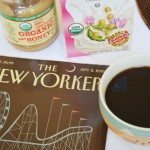 Coffee with Soy Milk & Honey and New Yorker Magazine